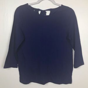 Talbots Petites Blouse Blue Small Tie Back Cotton